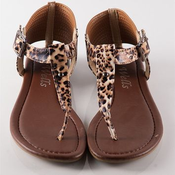 Beach Babe Strappy Flip Flop Sandal - Leopard at Lucky 21 Lucky 21