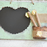 Mint Wedding Chalk Board, Rustic Wedding Chalk Board, Country Wedding Chalk Board, Mint Chalkboard, Chalkboard and chalk holder
