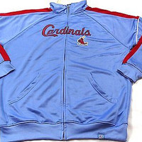 St. Louis Cardinals Majestic Cooperstown Tricot Field Track Jacket Size XLT