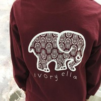 VONE05T9 2016 Trending Fashion Red Ivory Ella Cartoon Elephant Long Sleeve Round Necked Top Shirt T-Shirt