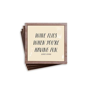 Wine Flies When You're Having Fun Copper & Glass Coasters, Set of 4