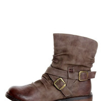 Bamboo Kacy 03 Brown Slouchy Belted Ankle Boots - $44.00