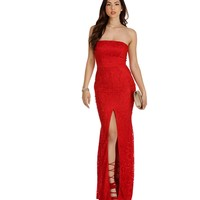 Irene Red Strapless Lace Prom Dress