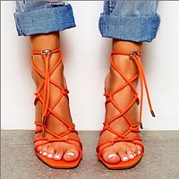 Fashion women's sandals large size fish mouth open toe hollow heels