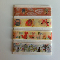 Animals Washi Tape Samples 4 x 1 Meter / 4 x 39 Inches - FREE shipping with other purchase