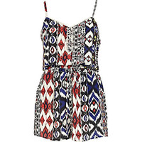 Red tribal print playsuit