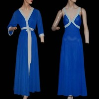 Blue Heaven Vintage 70s Bombshell Nightgown and Robe Set Color Block Nylon Beauty