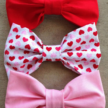 Valentine Hearts Set of 3 bows