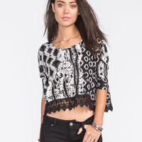 Patrons Of Peace Womens Crop Top Black  In Sizes