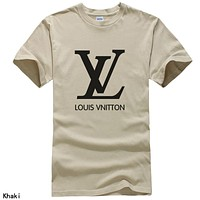 LV Louis Vuitton Summer Treniding Women Men Print Short Sleeve T-Shirt Top Khaki