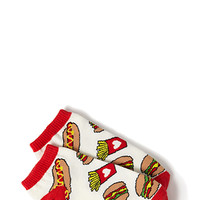 FOREVER 21 Fast Food Ankle Socks Cream/Red One