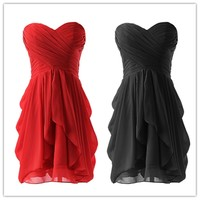 Sterpless Solid Color Irregular Ruffles Homecoming Party Dress