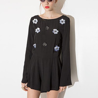 Black Floral Embroidered Crew Neck Playsuit