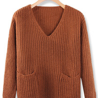 'The Sara' Brown V Neck Long Sleeve Pullover