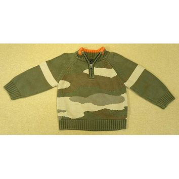 The Childrens Place Camouflage Sweater Boys 24m Toddler Greens -- Used