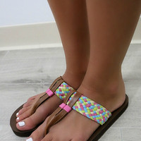 Into The Sunset Multicolor Braided Thong Flip Flop