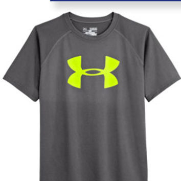 Under Armour Big Logo Tech Tee for Boys in Graphite 1228803-042