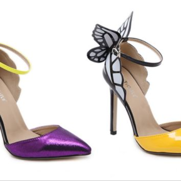 Dreamlike Butterfly Wings High Heel Stiletto Sandals Cocktail Party Club Event