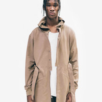 Desert Sand Hooded French Terry Trench in Burnt Khaki