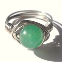 Green Aventurine Wrapped Silver Wire Ring Size 7