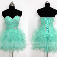 Custom Made Turquoise Organza Short Prom Dress/ Blue Cocktail Dress/ Party Dress/ Baby Blue Homecoming Dress /Sweet 16 Dress By Wishdress