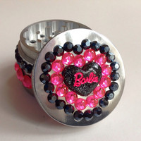 Black and Pink Pretty Jeweled Herb Grinder