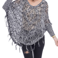 Fringe For Days Open Knit Fringe Poncho Sweater
