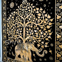 Hippie Tapestry, Elephant Hippie Tapestries, Hippie Wall Hanging, Cotton Bedspread Throw, Elephant Tree of Life Bohemian Queen Ethnic Decor