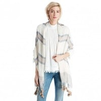 Embellished Knit Scarf with Tassels