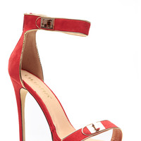 On Lock Red Gold Accented Heels
