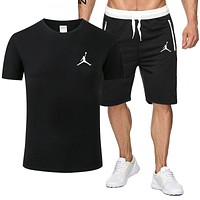 JORDAN Summer Popular Men Leisure Print Short Sleeve Top Shorts Set Two-Piece Sportswear Black