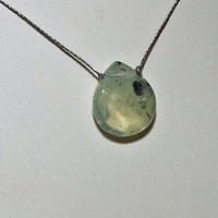 Prehnite Faceted Briolette Minimalist Necklace on Cord, Green Prehnite with Epidote Crystal Needles, Sterling Silver Clasp, Wabi Sabi Chic