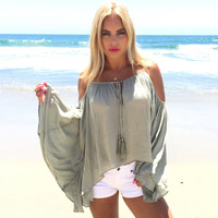 Del Sole Blouse In Mermaid Olive