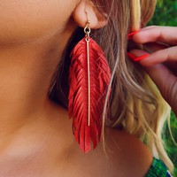 Leaf Me Breathless Earrings: Dark Red