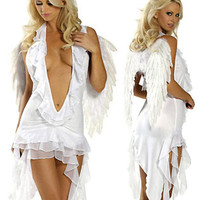 Sexy White Angel V-Neck Fantasy Costume Small/Medium 2pc Adult Womens
