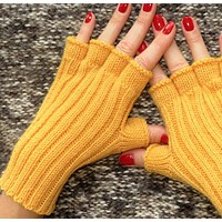 Knitted fingerless gloves fingerless knit mittens yellow gloves car accessories