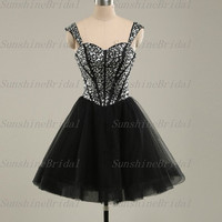 Real A-line Straps Sleeveless Above the knee Tulle Beading Fashion Short Cocktail Dresses Party Dresses Formal Dresses 2014 New Arrival