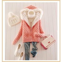 Casual Pink Plain Zipper Hooded Long Sleeve Cardigan Sweater