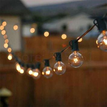 Patio Lights G40 Globe Party Christmas String Light Warm White 25Clear Vintage Bulbs 25ft Decorative Outdoor Backyard Garland