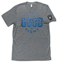 The Good Fight Tee - Gray/Blue