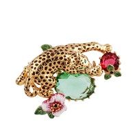 Les Néréides CHARMING FELINES PANTHER IN TROPICAL GARDEN SHORT GOLD BROOCH