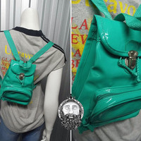 Vintage 90s Seafoam Green Mini Backpack PVC Bag Club Kid 90s Rave Turquoise Blue Womens Accessories Teal Bag Small Backpack Shiny Plastic
