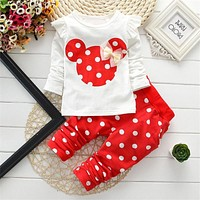 born Baby Girl Clothes Spring Autumn Polka Dot Long Sleeved T-shirt + Pants Outfit Kids Bebes Tracksuits Jogging Suits
