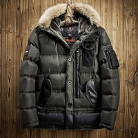 2017 Mens Winter Jacket Parkas Snow Coat Hooded Fur Collar Warm Outwear Cotton Padded Clothes Overcoat Plus Size Army Green