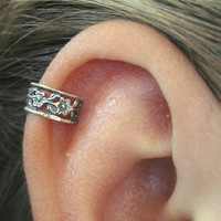 Floral Lace Cartilage Ear Cuff - Sterling Silver
