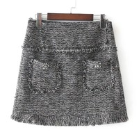 Rhinestone Detail Frayed Edge Tweed Skirt