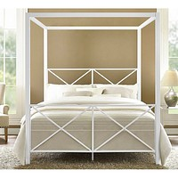 Queen size Sturdy Metal Canopy Bed Frame in White