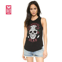"Cotton Womens ""LUCK skull"" Black Sleeveless T-shirt Ldays Rock Roll Tops tees OL street Vest clothing S~XXL"