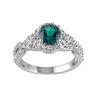 Lab-Created Emerald & Lab-Created White Sapphire Sterling Silver Twist Ring (Green)