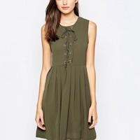 Brave Soul | Brave Soul Skater Dress With Tie Up Front at ASOS